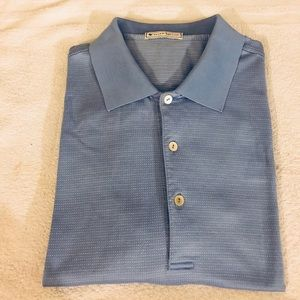 Peter Millar Blue w/ Gold Check Polo Shirt L